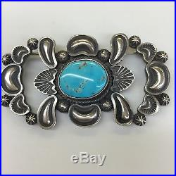 Navajo Indian Hand Made Sterling Silver Blue Bird Eye Turquoise Pin