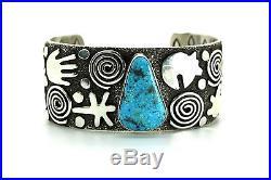Navajo Indian Sterling Silver Kingman Turquoise Bracelet Made By Alex Sanchez