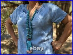 Navajo Jacla Necklace, Turquoise Heishi Beads Native American Hand Made Jewelry