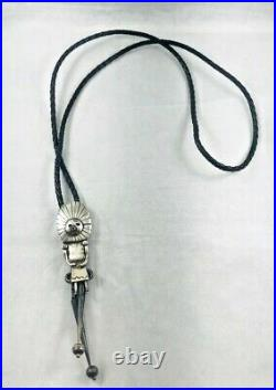 Navajo Kachina Sterling & Leather Corded Bolo Tie-Possibly Made by J. Livingston