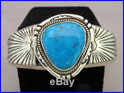Navajo LRG Sterling Silver Turquoise Cuff Bracelet Mens s7.75 Native Made in USA