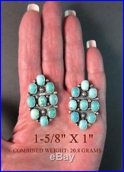 Navajo MadeCarico Lake TurquoiseVintage FinishNon DangleCluster Earrings