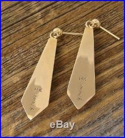 Navajo Made 14k Gold Turquoise Multi Inlay Dangle Earrings