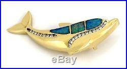 Navajo Made 14k SOLID Yellow Gold Natural Black Opal & Diamond Pendant