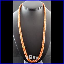 Navajo Made Bright Orange Tan Spiny Oyster Beads Necklace Slagle WithFREE GIFT