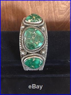 Navajo Made Broken Arrow Varicite Sterling Silver Bracelet