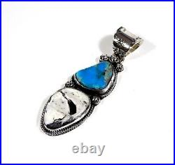 Navajo Made High grade Bisbee & White Buffalo Turquoise Sterling Silver Pendant
