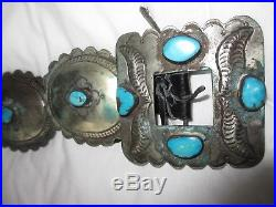 Navajo Made Large Concho Turquoise Silver Belt Vintage