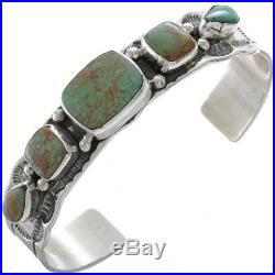 Navajo Made Nevada Green Turquoise Silver Old Pawn Style Ladies Bracelet
