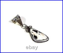 Navajo Made Rare White Buffalo Turquoise 925 Sterling Silver Pendant Necklace