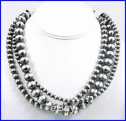 Navajo Made Sterling Silver 6-12mm 3 Str Native DESERT PEARLS 16-18 Necklace