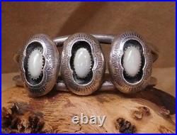 Navajo Made Sterling Silver And Mother Of Pearl Shadowbox Cuff Bracelet