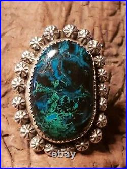 Navajo Made Sterling Silver & Top Grade Bisbee Turquoise Ring sz 7.5 & 20.4g