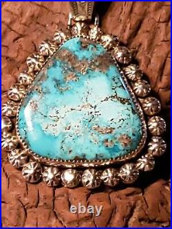 Navajo Made Sterling Silver & Top Grade Morenci Turquoise Pendant 23.2 grams