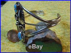 Navajo Made Sterling Silver and Turquoise Bracelet by Artist Mike Thomas