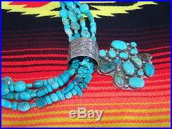 Navajo Made Sterling Turquoise Cross Heart Pendant Strand NecklaceRocki Gorman