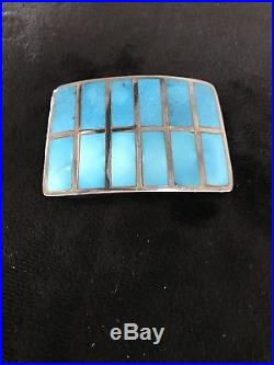 Navajo Made Vintage Turquoise Channel Inlayed & Sterling Belt Buckle
