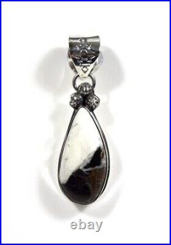 Navajo Made White Buffalo Turquoise 925 Sterling Silver Pendant Necklace