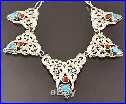 Navajo Morenci Turquoise Red Coral Pendant Necklace Made in USA Shane Hendren