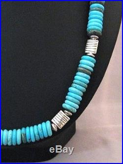 Navajo Native American Turquoise Disc Beads Necklace Sterling Silver Made USA