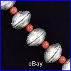 Navajo Old Style Coin Silver Mercury Dimes Red Coral Necklace Native Made in USA