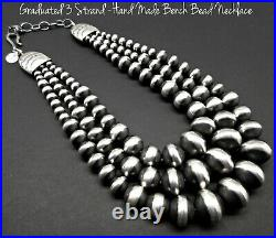 Navajo-ROSE MARTIN-AUTHENTIC-Hand Made-Navajo Pearl/Bench Bead 925 Necklace