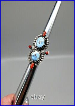 Navajo SHAWN CAYATINETO-impeccably Made-HUGE Kazakhstan Turquoise/Coral Ring-8