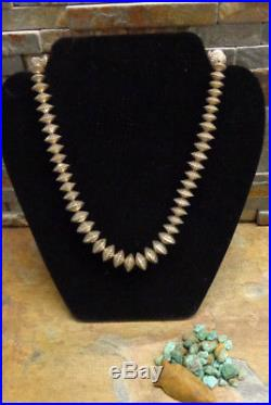 Navajo Silver Hand Made Pressed Bench Bead Necklace Native Old Pawn Harvey Era