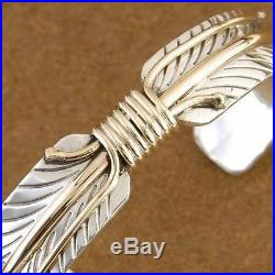 Navajo Sterling Gold Feather Quill Mens Womens Cuff Bracelet Native Made in USA