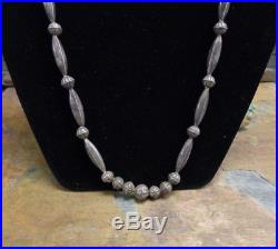 Navajo Sterling Hand Made Pressed Bench Bead Necklace Native Old Pawn Harvey Era