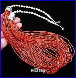 Navajo Sterling Silver 30 Strand Red Coral HEISHI BEADS Necklace Native Made USA