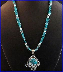 Navajo Sterling Silver Blue Diamond Turquoise Pendant Necklace Native Made USA