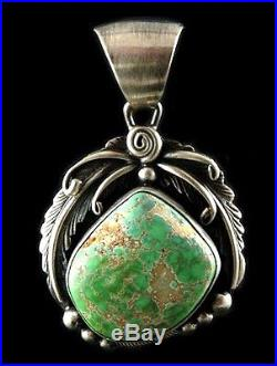 Navajo Sterling Silver CARICO LAKE Turquoise Old Style Pendant Native Made in US