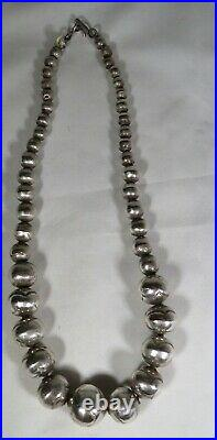 Navajo Sterling Silver Hand-Made Decoratively Stamped Navajo Pearls Choker