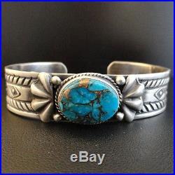 Navajo Sterling Silver Kingman Gold Turquoise Bracelet s6.5 Native Made in USA