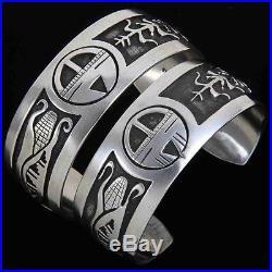 Navajo Sterling Silver Overlay SUNFACE Bracelet Mens s7-7.5 Native Made in USA