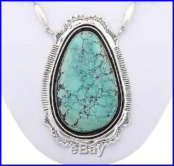 Navajo Sterling Silver SPIDERWEB TURQUOISE Necklace Bracelet Set Native Made USA