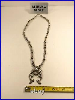 Navajo Sterling Silver Sand Cast Hand Made Bench Bead Necklace