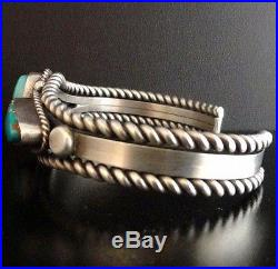 Navajo Sterling Silver TURQUOISE BRACELET Womens Cuff s6.25 Native Made in USA
