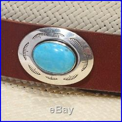 Navajo Sterling Silver Turquoise Concho HAT BAND HATBAND Native American Made