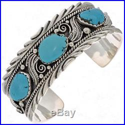 Navajo Sterling Silver Turquoise Cuff Bracelet Womens Mens s6.5-8.5 Made in USA