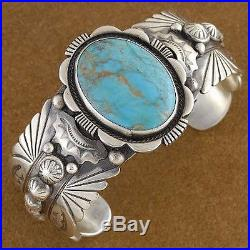 Navajo Sterling Silver Turquoise Cuff Bracelet s6.75 Native American Made in USA