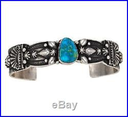 Navajo Sterling Silver Turquoise Mtn TURQUOISE BRACELET s6.5 Native Made in USA
