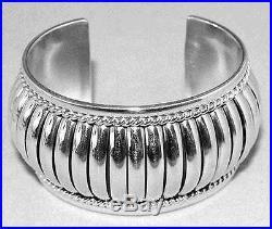Navajo Tom Charley Sterling Silver Womens Bracelet s6.25-6.5 Native Made in USA