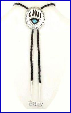 Navajo Turquoise Bear Paw Claw Bolo Tie Sterling Silver Native Made in USA