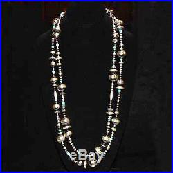 Navajo Turquoise Necklace Sterling Silver 60 Oxidized Native Pearls Made in USA