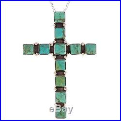 Navajo Turquoise Pendant Necklace LRG Sterling Silver Cross Native Made in USA