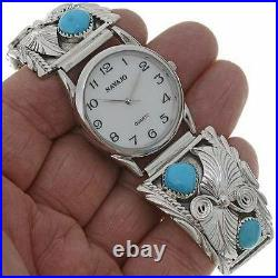 Navajo Turquoise Sterling Silver Watch Tips Mens Stretch Band Native Made s7-8.5