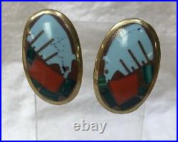 Navajo Vintage Turza Wells & Andrew Shows Fetish Inlay Cuff & Earrings Hand Made
