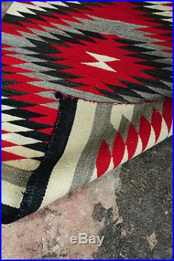 Navajo c, 1930s Native American Hand Made Rug withintricate White Red & Black